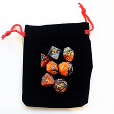 Rectangular Dice Bag BLACK with red drawstring
