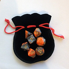 Small Dice Bag BLACK with RED drawstring